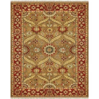 "Grand Bazaar Hand-knotted 100-percent Wool Pile Pietra Rug in Gold/Red 5'-6"" x 8'-6"""