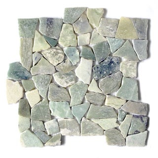 Sea Grass Jade Stone Mosaic 12 x 12 Interlocking Floor and Wall Tile (Pack of 11)