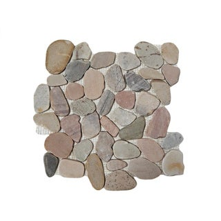 "Coral Flat Pebble Mesh Tile 12"" x 12"" Interlocking Floor and Wall Tile (Pack of 5)"
