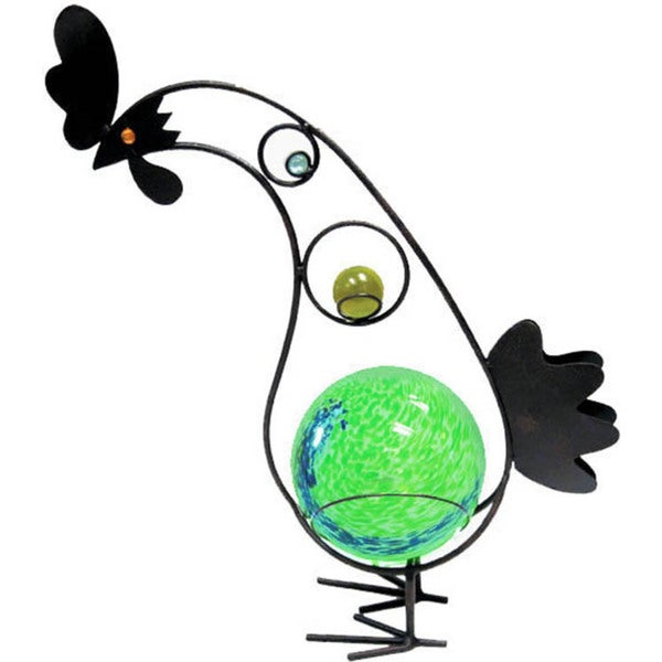 12-inch Solar Glass Rooster with Green Light
