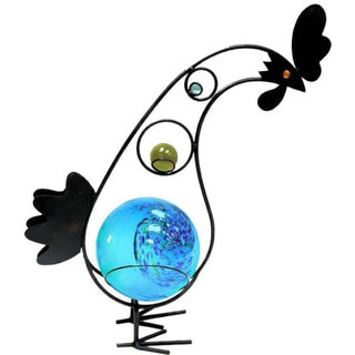 12-inch Solar Glass Rooster with Blue Light