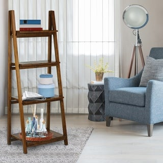 Manhasset Slatted 4-shelf Folding Bookcase