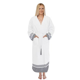 Unisex White Super Luxe Turkish Cotton Pestemal Oversizes Small/ Medium Bathrobe