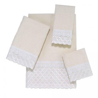 Avanti Eyelet Scallop White Embellished 4-piece Towel Set