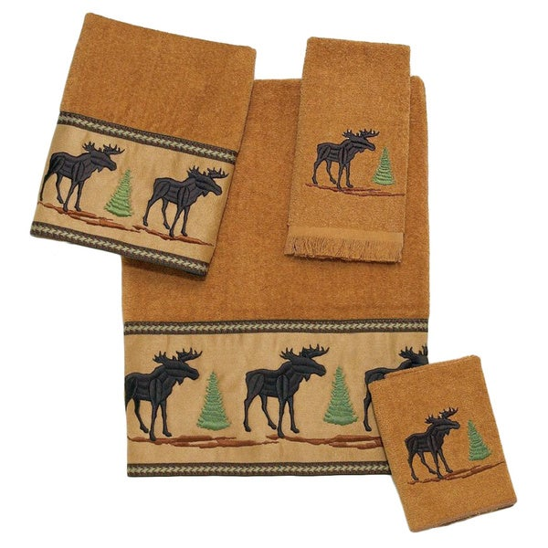 Avanti Forestry Brown Embellished 4-piece Towel Set