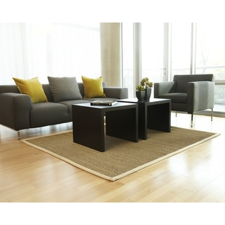 Sandy Natural Seagrass Rug with Khaki Cotton Border (9' x 12')