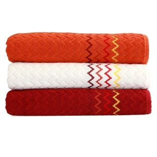 Luxury Embroidered Chevron Turkish Cotton Bath Towel (Set of 3)