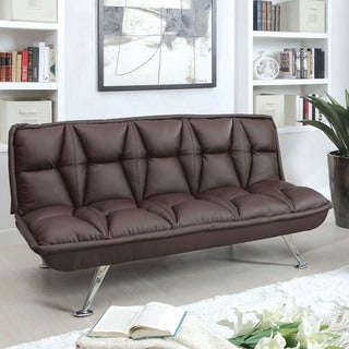 Furniture of America Melvric Diamond Tufted Brown Leatherette Futon Sofa