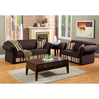 Furniture of America Retro 2-piece Fabric Sofa and Loveseat Set