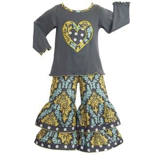 Ann Loren Grey Damask and Polka-dot Heart Outfit