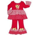 AnnLoren Girls Christmas Stripes and Polka-dots Holiday Outfit