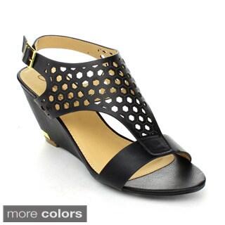 DBDK JAYNE-1 Women's Slingback Ankle Strap Wedge Sandals