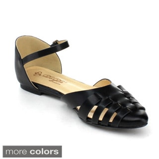 DBDK DEMBE-2 Women's Buckle Ankle Strap Flats