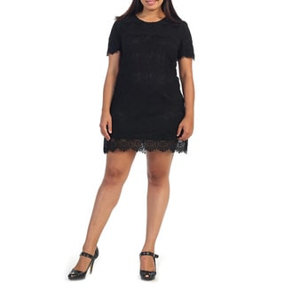 Hadari Plus Size Women's Lace Scoop Neck Shift Dress
