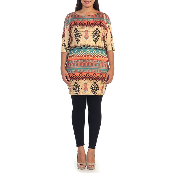 Hadari Plus Size Women's Multi Tribal Sheath Dress