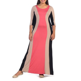 Hadari Women's Plus Colorblock Striped Maxi Dress