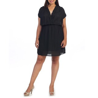 Hadari Women's Plus Black Surplice Sun Dress