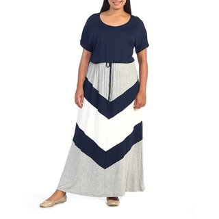Hadari Women's Plus Size Chevron Colorblocked Maxi Dress