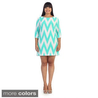Hadari Women's Plus Chevron Zig-zag Tunic / Dress