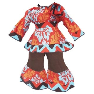 AnnLoren Autumn Damask and Chevron Doll Outfit