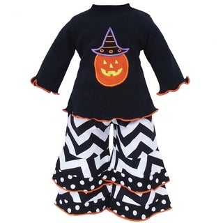 AnnLoren Halloween Pumpkin Shirt and Chevron Doll Outfit