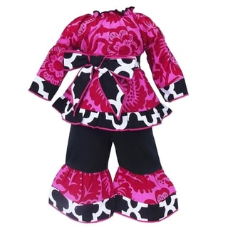 AnnLoren Smock Hot Pink Lattice Blossom Doll Outfit