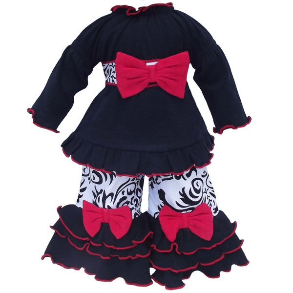 AnnLoren Red Bow Damask Doll Outfit