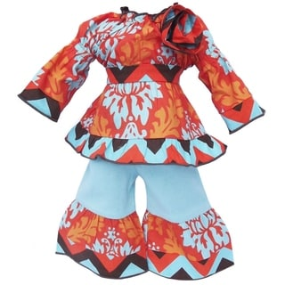 AnnLoren Turquoise and Orange Fall Damask Doll Outfit