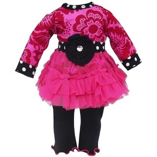 AnnLoren Hot Pink Blossom Tulle Doll Outfit