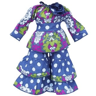 AnnLoren Grey-blue and Pink Darling Damask and Polka Dots Doll Outfit