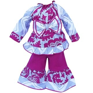 AnnLoren Smock Floral Blossom and Chevron Doll Outfit