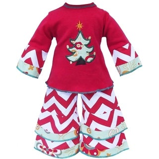 AnnLoren Christmas Tree and Chevron Doll Outfit