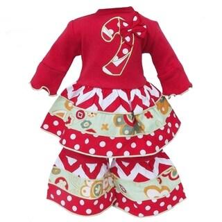 AnnLoren Christmas Candy Cane Chevron Doll Outfit