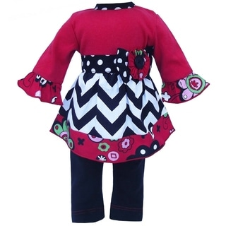 AnnLoren Holiday Chevron Red Floral Doll Outfit
