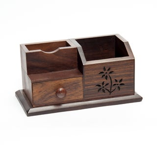 Sitara Hand-carved Mango Wood Mini Desk Storage (India)