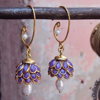 Sitara Goldtone Purple Floral Cluster Dangle Earrings (India)