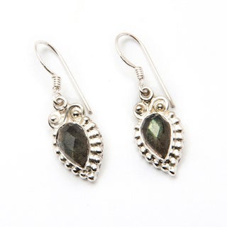 Sitara Silverplated Faceted Labradorite Dangle Earrings (India)