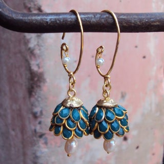 Sitara Goldtone Green Floral Cluster Dangle Earrings (India)