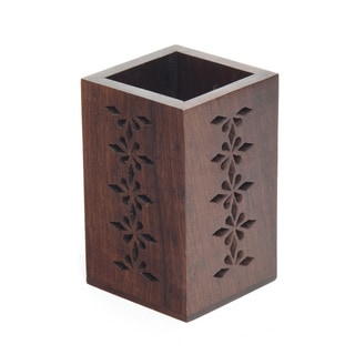 Sitara Hand-carved Mango Wood Pencil Holder (India)
