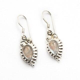 Sitara SIlverplated Rainbow Moonstone Dangle Earrings (India)