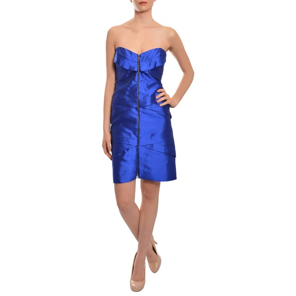Nicole Miller Women's Cobalt Blue Dupioni Silk Zip Front Strapless Cocktail Party Dress