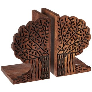 Sitara Hand-carved Mango Wood Bookends (India)
