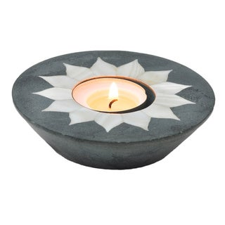 Sitara Palewa Grey/ White Inlay Stone Tea Light Holder (India)