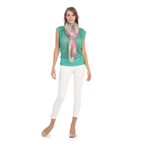 Hadari Women's Green Geometric Knit Short Sleeve Sweater