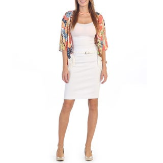 Hadari Women's White Belted Pencil Skirt