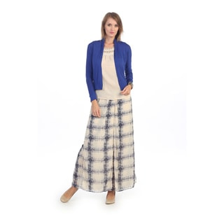 Hadari Women's Ivory and Blue Plaid Maxi Skirt