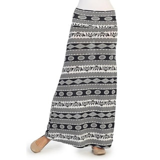 Hadari Women's Black and White Aztec Print Maxi Skirt