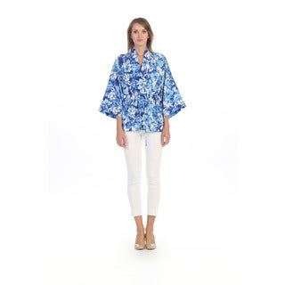 Hadari Women's Blue and White Floral Drawstring Jacket