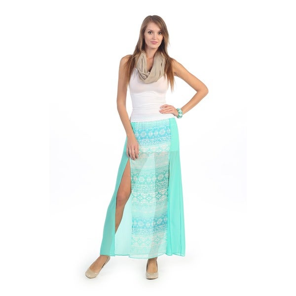Hadari Women's Jade Tribal Maxi Skirt