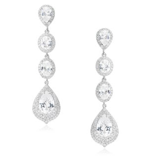 Journee Collection Brass Cubic Zirconia Drop Earrings